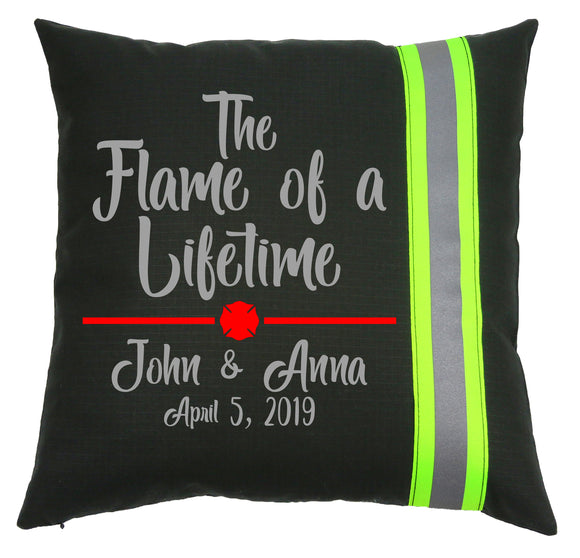 Firefighter Personalized BLACK Pillow - Flame of a Lifetime