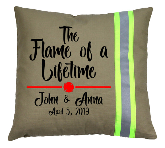 Firefighter Personalized TAN Pillow - Flame of a Lifetime