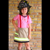 Personalized Toddler GIRL Firefighter 2-Piece Outfit with BLACK Skirt