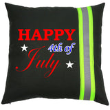 Firefighter BLACK Pillow - Happy 4th of July
