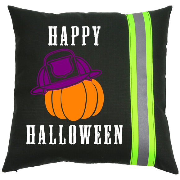 Halloween Firefighter BLACK Pillow - Pumpkin with Fireman Helmet