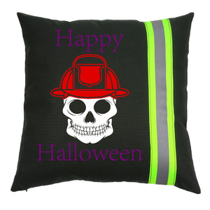 Halloween Firefighter BLACK Pillow - Skull with Fireman Helmet