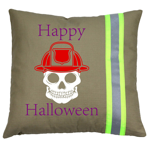 Halloween Firefighter TAN Pillow - Skull with Fireman Helmet