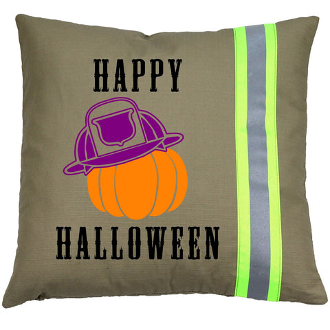 Halloween Firefighter TAN Pillow - Pumpkin with Fireman Helmet