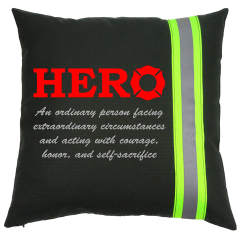 Firefighter HERO Black Pillow