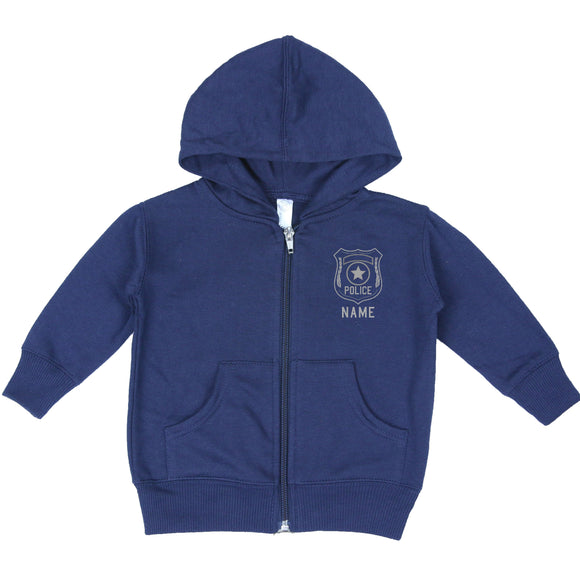 Police Personalized Navy Baby Zip-Up Hoodie