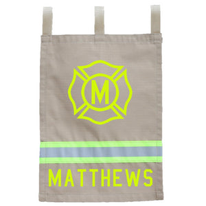 Firefighter Personalized TAN Yard Flag - Maltese Cross with Initial and Name