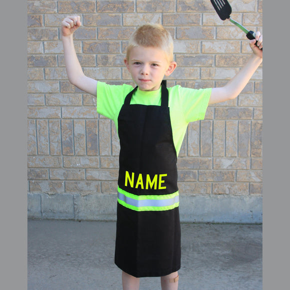 Firefighter Personalized BLACK Child Apron