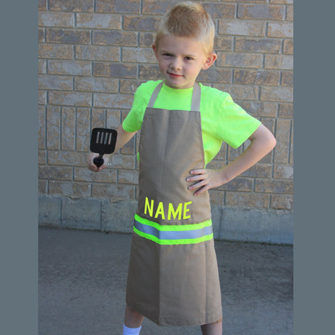 Firefighter Child's TAN Apron with LIME/YELLOW Reflector