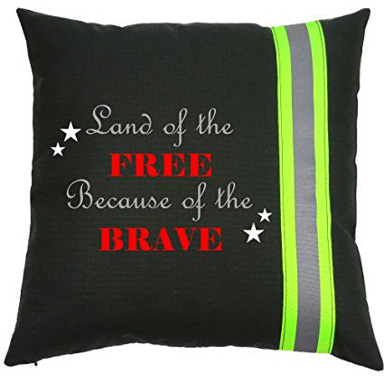 Firefighter BLACK Pillow - Land of the Free because of the Brave