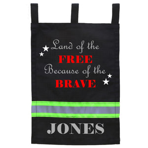 Firefighter Personalized BLACK Yard Flag - Land of the Free Because of the Brave