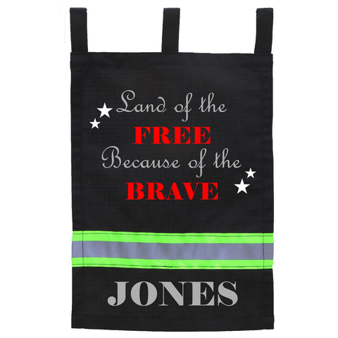 Firefighter BLACK Yard Flag - Land of the Free Because of the Brave