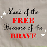 Firefighter Personalized TAN Yard Flag - Land of the Free Because of the Brave