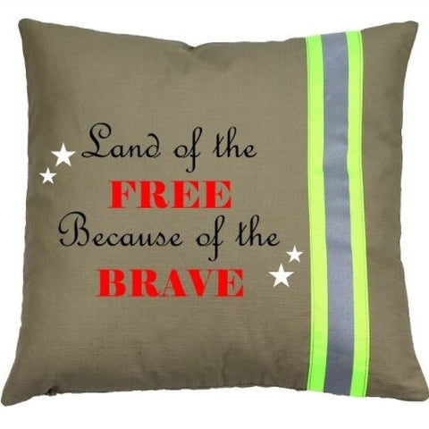 Firefighter TAN Pillow - Land of the Free because of the Brave