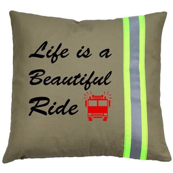 Firefighter TAN Pillow - Life is a Beautiful Ride