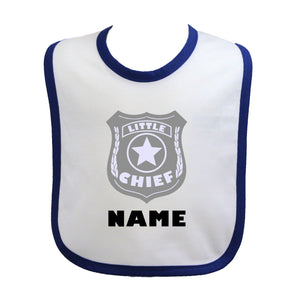 Police Personalized Baby Bib Little Chief with Badge