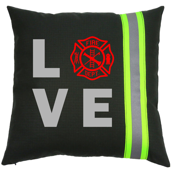 Firefighter BLACK Pillow - LOVE Maltese Cross