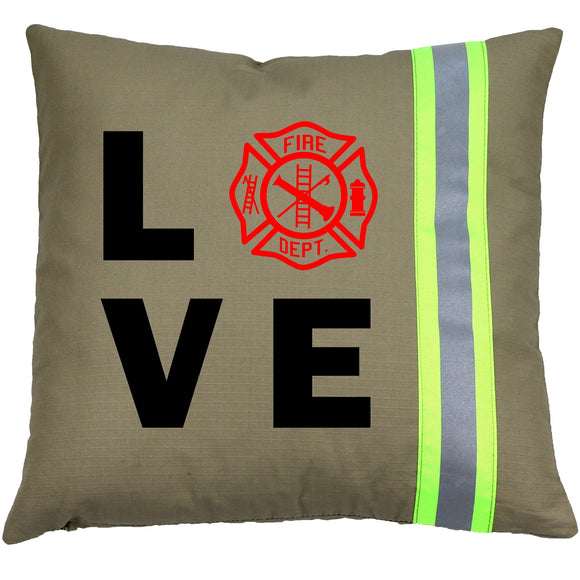 Firefighter TAN Pillow - LOVE Maltese Cross