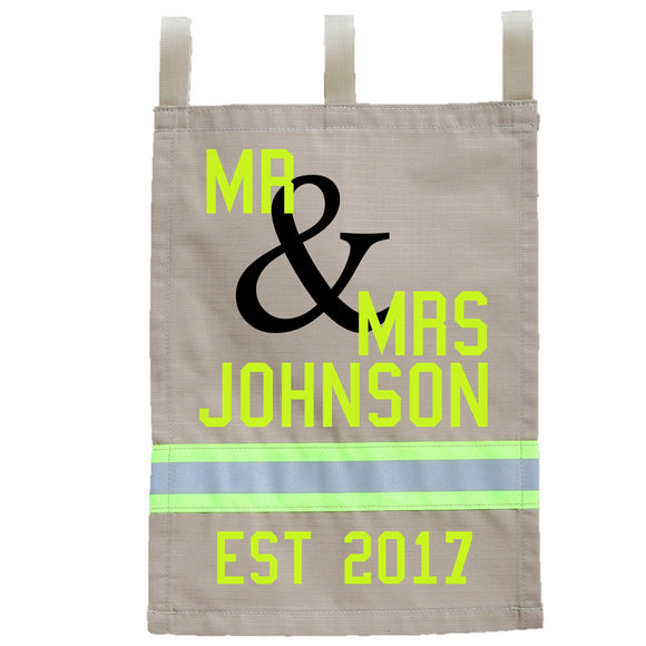Firefighter Personalized TAN Yard Flag - Mr & Mrs