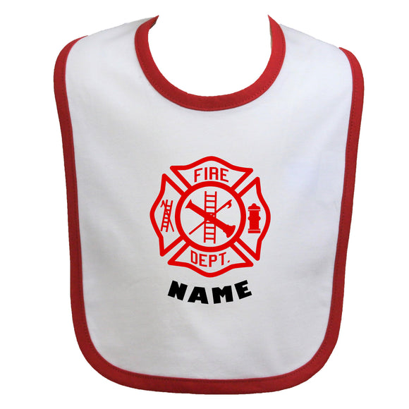 Firefighter Personalized Baby Bib Maltese Cross with Name