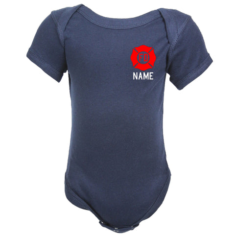 Personalized Firefighter Baby Bodysuit with Maltese Cross