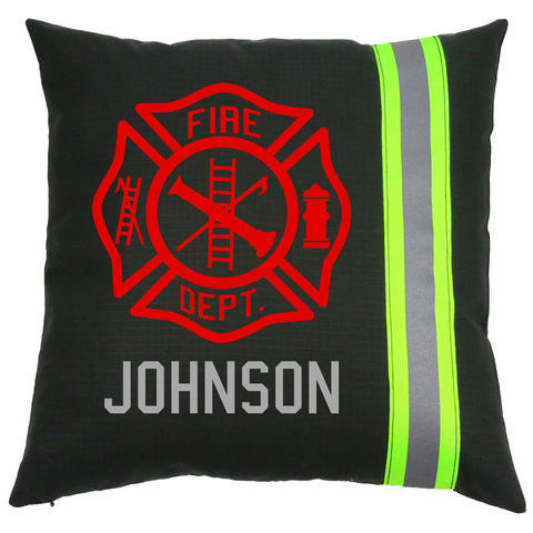 Firefighter BLACK Pillow - Maltese Cross with Name