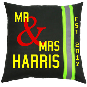 Firefighter Personalized BLACK Wedding Pillow with Last Name and Date