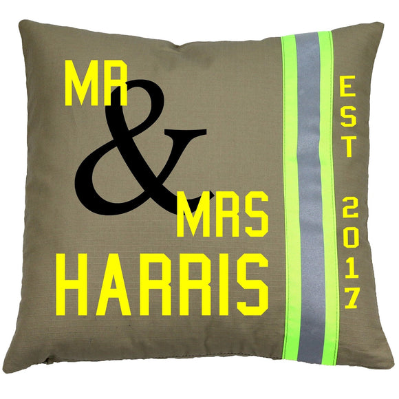 Firefighter Personalized TAN Wedding Pillow with Last Name and Date