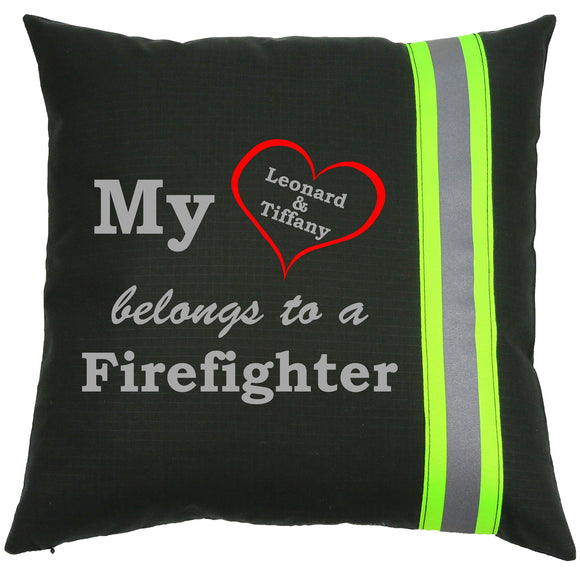 Firefighter Personalized BLACK Pillow - My Heart Belongs To A Firefighter