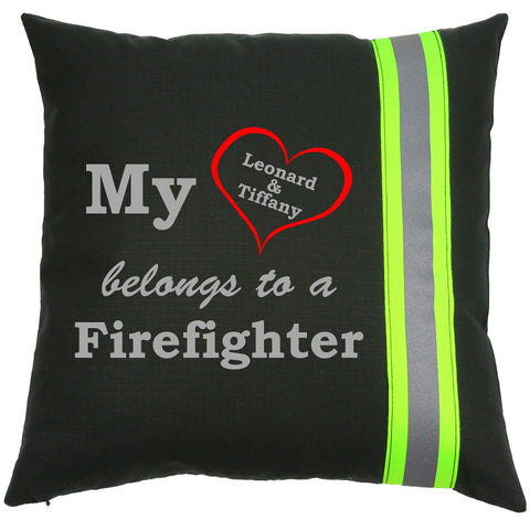 Firefighter BLACK Pillow - My Heart Belongs To A Firefighter