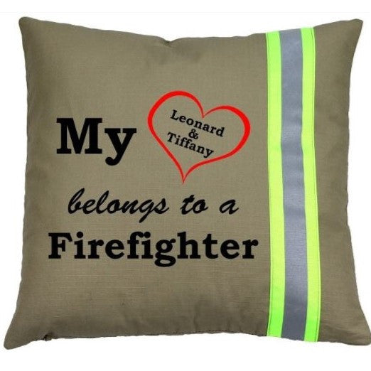 Firefighter TAN Pillow - My Heart Belongs to a Firefighter