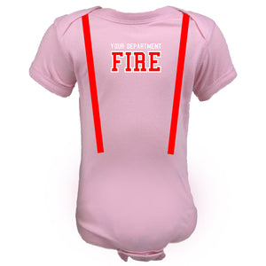 Firefighter Personalized Baby PINK Bodysuit