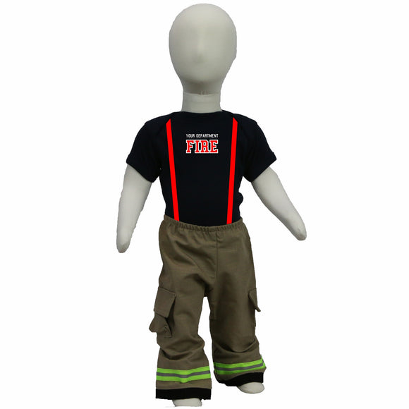 Personalized Baby Firefighter 2-Piece Outfit with TAN Pants