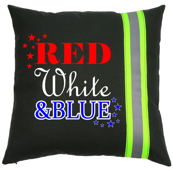 Firefighter BLACK Pillow - Red, White & Blue