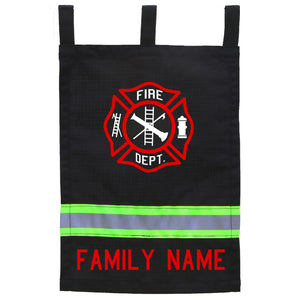 Firefighter Personalized BLACK Yard Flag - RED Maltese Cross and Name