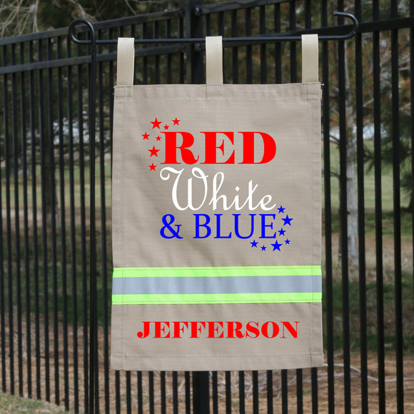 Firefighter Personalized TAN Yard Flag - Red, White & Blue