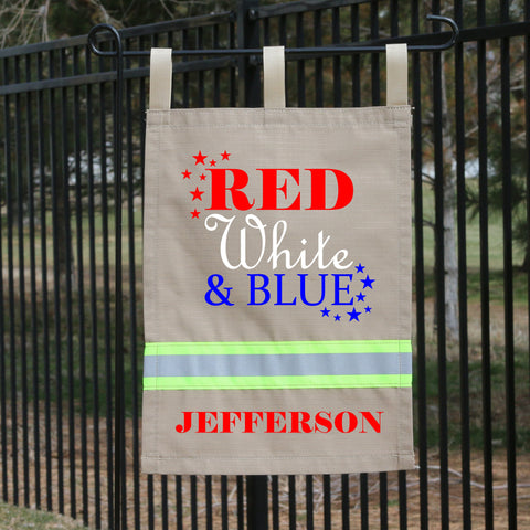 Firefighter TAN Yard Flag - Red, White & Blue