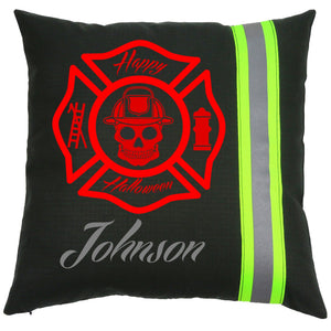 Firefighter Personalized BLACK Happy Halloween Pillow with Skull Maltese Cross