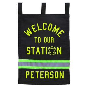 Firefighter Personalized BLACK Fire Station Yard Flag with Department/Family Name