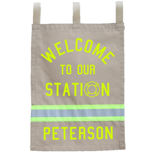 Firefighter Personalized TAN Fire Station Yard Flag
