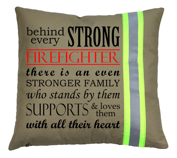 Firefighter TAN Pillow - Strong Firefighter Family