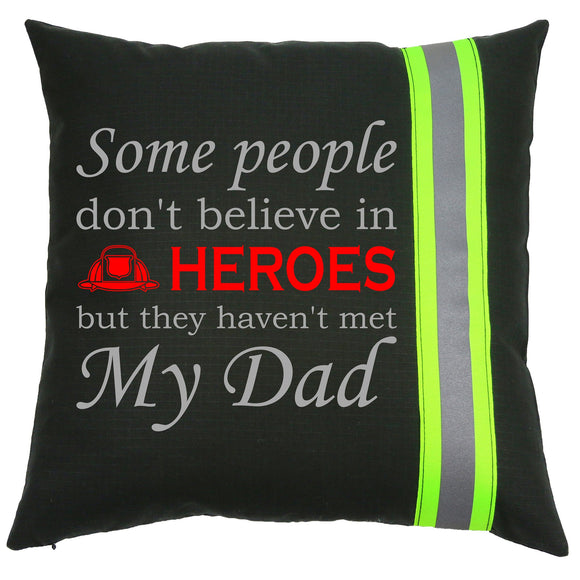 Firefighter BLACK Pillow - Firefighter Hero Dad