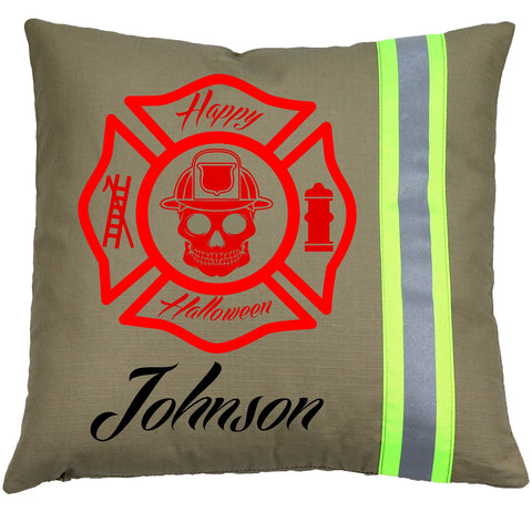 Personalized Halloween Firefighter TAN Pillow with Red Maltese Cross