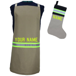 Firefighter TAN Apron and TAN/BLACK Stocking Set with LIME/YELLOW Reflector