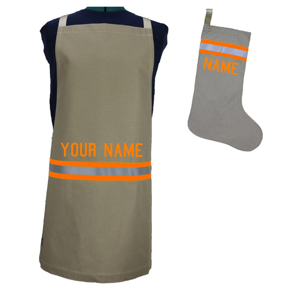 Firefighter Personalized TAN Apron and ALL TAN Stocking Set with ORANGE Reflective
