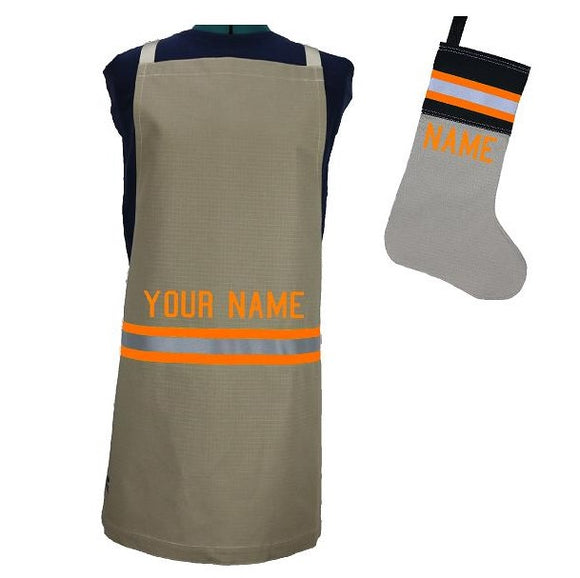 Firefighter Personalized TAN Apron and TAN/BLACK Stocking Set with ORANGE Reflective