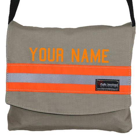 Firefighter TAN Reversible Messenger Bag with RED/ORANGE Reflector