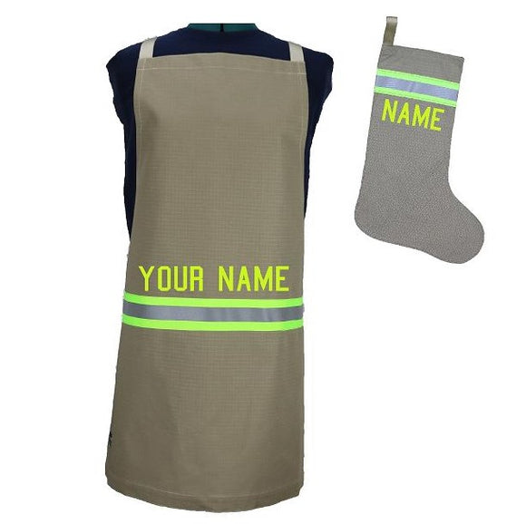 Firefighter Personalized TAN Apron and ALL TAN Stocking Set