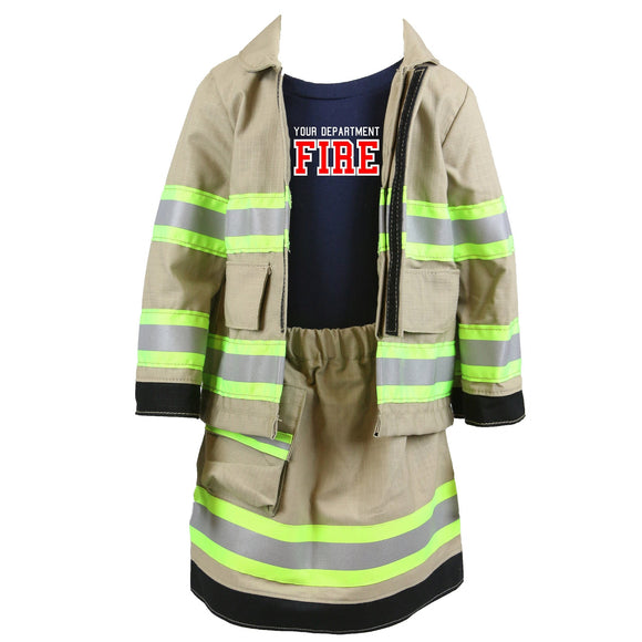 Personalized Toddler GIRL Firefighter FULL 3-Piece Outfit with TAN Skirt