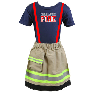 49ceed4bf5611 Personalized Toddler GIRL Firefighter 2-Piece Outfit with TAN Skirt ...